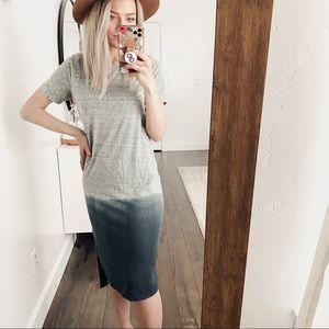 TopShop |Gray Navy Short Sleeve Ombré Tshirt Dress